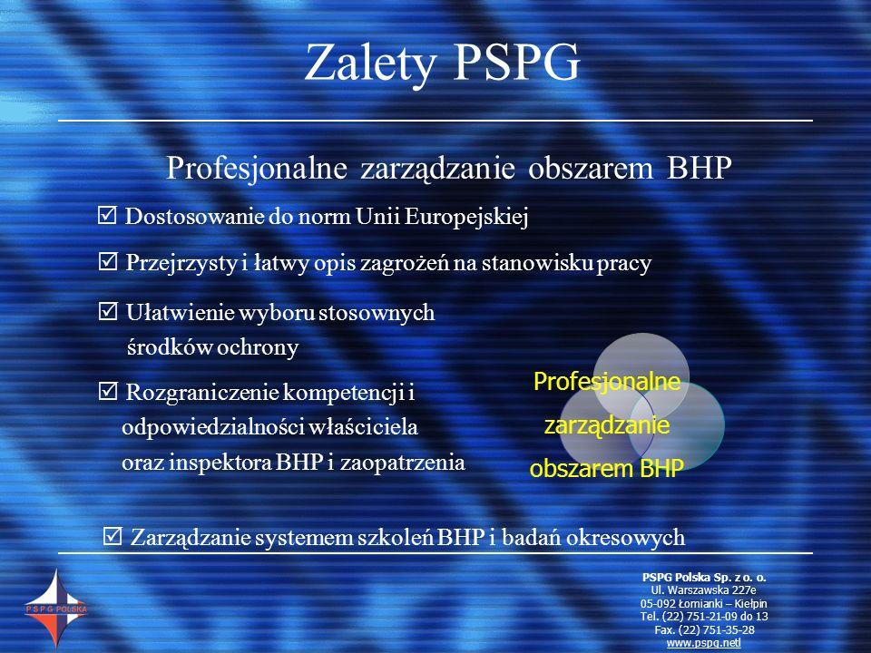 Zalety PSPG Profesjonalne zarządzanie obszarem BHP D ostosowanie do norm Unii Europejskiej P rzejrzysty i łatwy opis zagrożeń na stanowisku pracy R oz