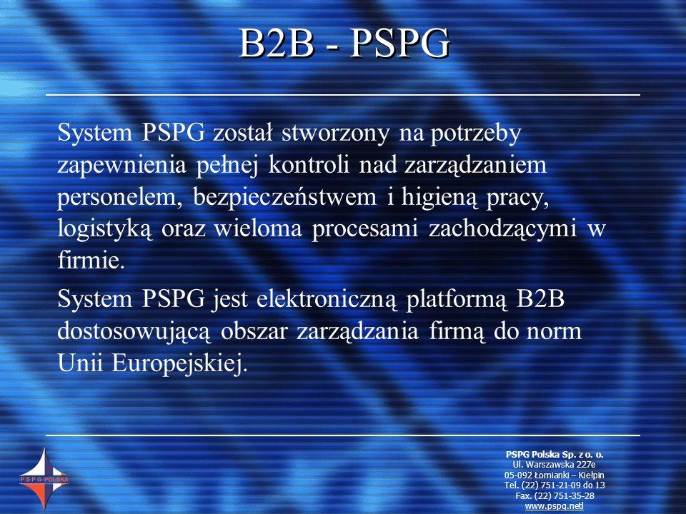 Zalety PSPG Logistyka Zaopatrzenie w środki produkcji, ochrony, materiały i usługi P ełna kontrola wydatków na środki ochrony N ajwiększy wybór produktów, producentów i usługodawców Ł atwe porównanie ofert G warancja posiadania atestów Możliwość automatyzacji zamówień T erminowość dostaw A utomatyczna kontrola czasookresów użytkowania PSPG Polska Sp.