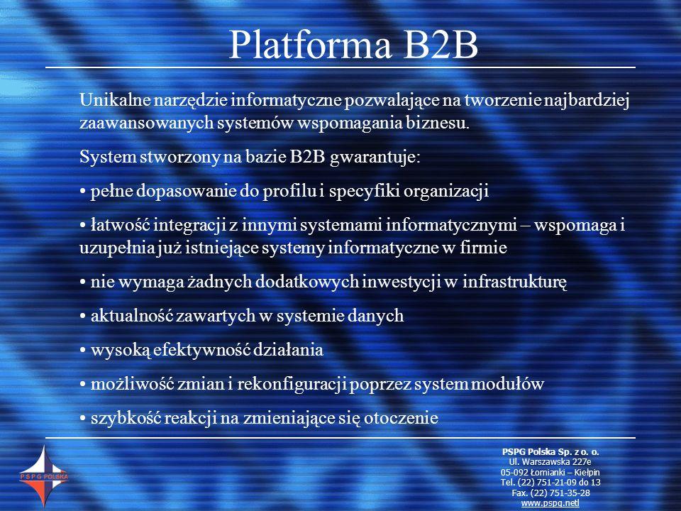 Platforma B2B bezpieczny dostęp do systemu z dowolnego miejsca na świecie przez Internet minimalne wymagania sprzętowe automatyczny dostęp w 5 językach możliwość prowadzenia rozmów przez VIP PSPG Polska Sp.