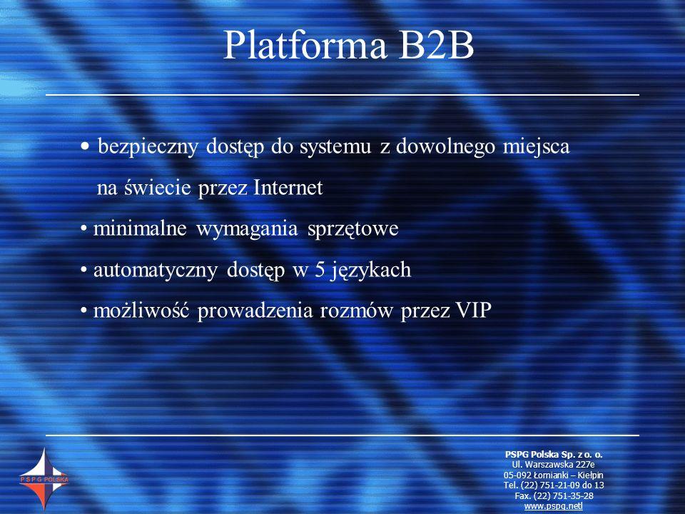 Platforma B2B bezpieczny dostęp do systemu z dowolnego miejsca na świecie przez Internet minimalne wymagania sprzętowe automatyczny dostęp w 5 językac