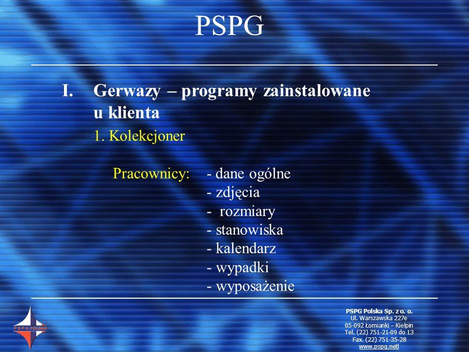 PSPG I.Gerwazy – programy zainstalowane u klienta 1. Kolekcjoner Pracownicy: - dane ogólne - zdjęcia - rozmiary - stanowiska - kalendarz - wypadki - w