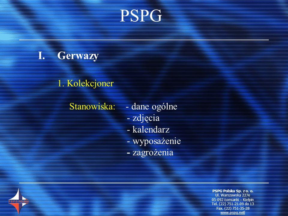 PSPG I.Gerwazy 1. Kolekcjoner Stanowiska: - dane ogólne - zdjęcia - kalendarz - wyposażenie - zagrożenia PSPG Polska Sp. z o. o. Ul. Warszawska 227e 0
