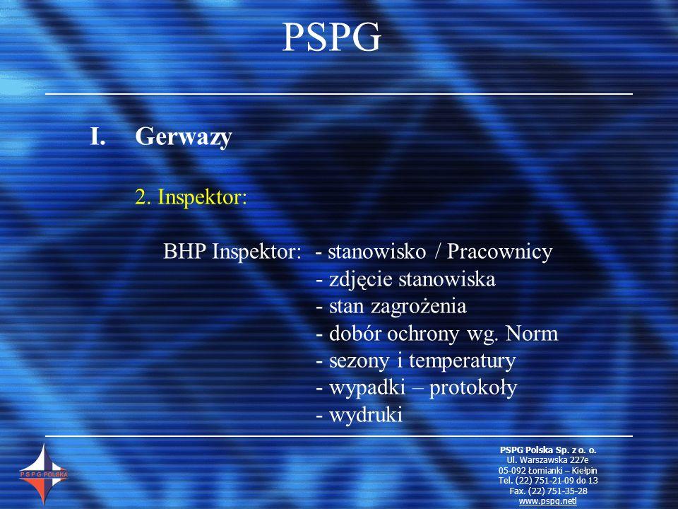 PSPG I.Gerwazy 2. Inspektor: BHP Inspektor: - stanowisko / Pracownicy - zdjęcie stanowiska - stan zagrożenia - dobór ochrony wg. Norm - sezony i tempe