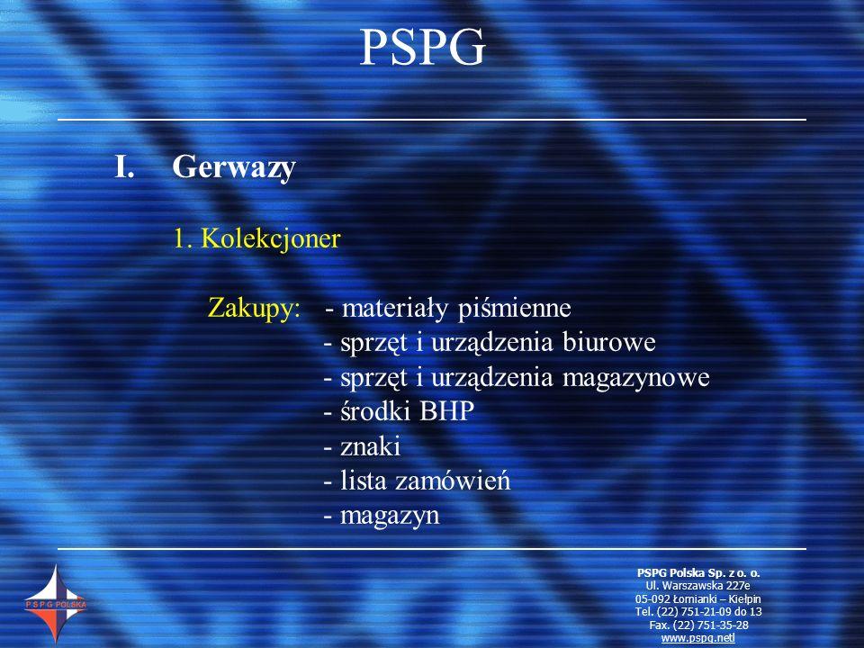 PSPG I.Gerwazy 1. Kolekcjoner Zakupy: - materiały piśmienne - sprzęt i urządzenia biurowe - sprzęt i urządzenia magazynowe - środki BHP - znaki - list