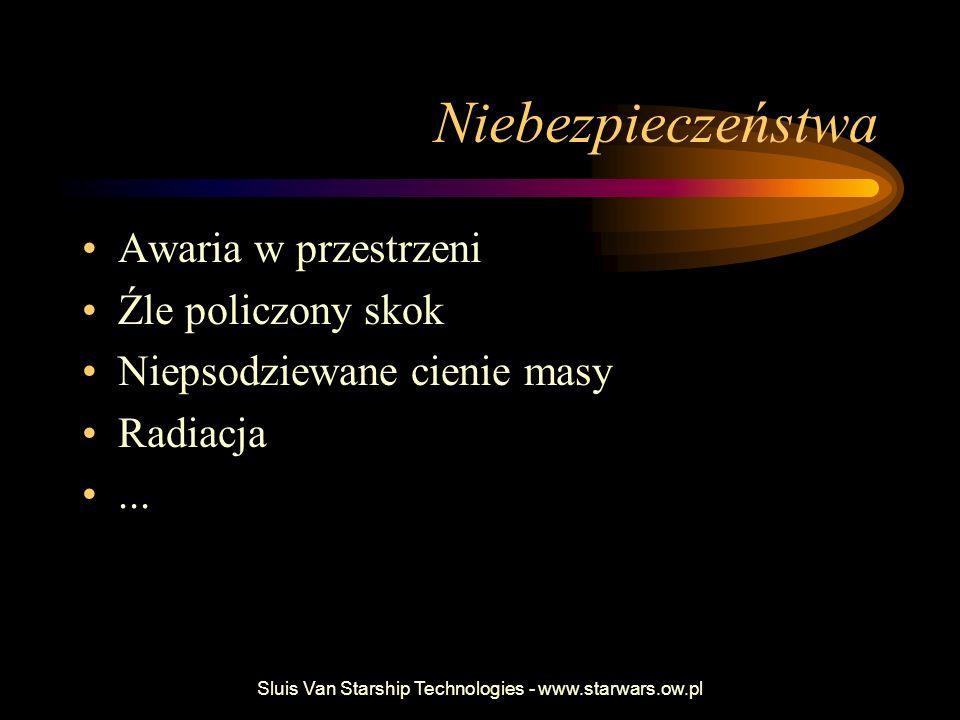Sluis Van Starship Technologies - www.starwars.ow.pl Niebezpieczeństwa Awaria w przestrzeni Źle policzony skok Niepsodziewane cienie masy Radiacja...