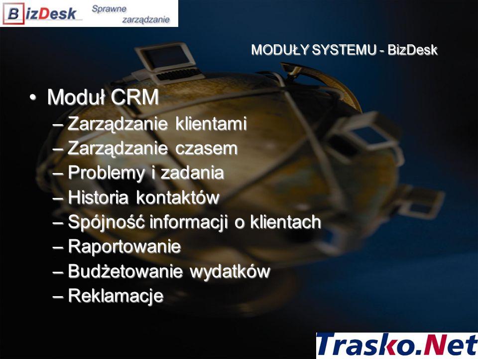 Moduł CRMModuł CRM –Zarządzanie klientami –Zarządzanie czasem –Problemy i zadania –Historia kontaktów –Spójność informacji o klientach –Raportowanie –