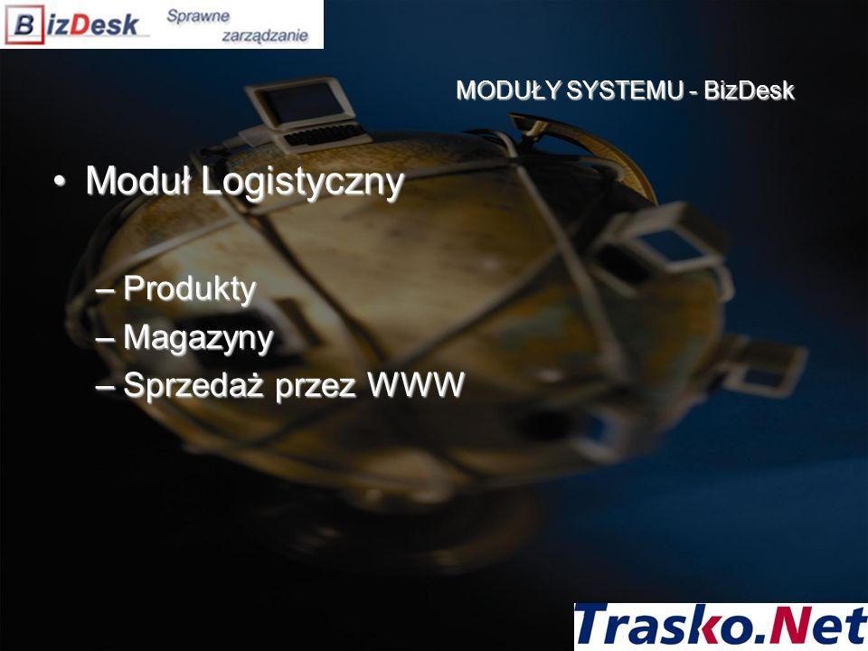 Moduł LogistycznyModuł Logistyczny –Produkty –Magazyny –Sprzedaż przez WWW