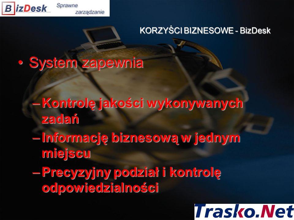 KORZYŚCI BIZNESOWE - BizDesk System zapewniaSystem zapewnia –Kontrolę jakości wykonywanych zadań –Informację biznesową w jednym miejscu –Precyzyjny po