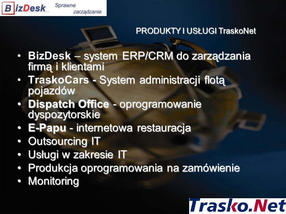 PRODUKTY I USŁUGI TraskoNet system ERP/CRM do zarządzania firmą i klientamiBizDesk – system ERP/CRM do zarządzania firmą i klientami System administra