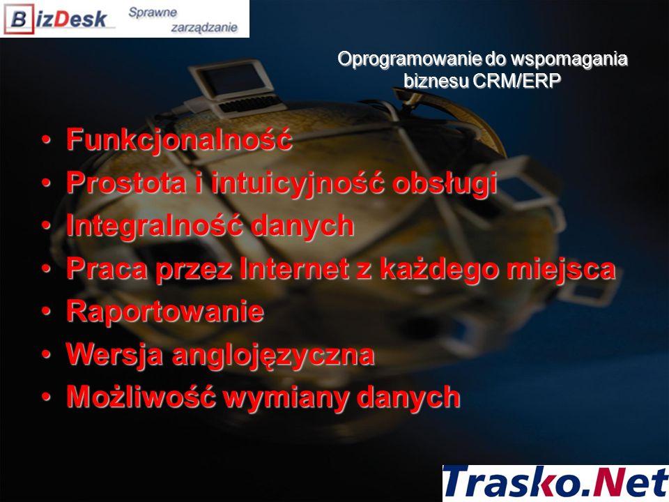Oprogramowanie do wspomagania biznesu CRM/ERP FunkcjonalnośćFunkcjonalność Prostota i intuicyjność obsługiProstota i intuicyjność obsługi Integralność