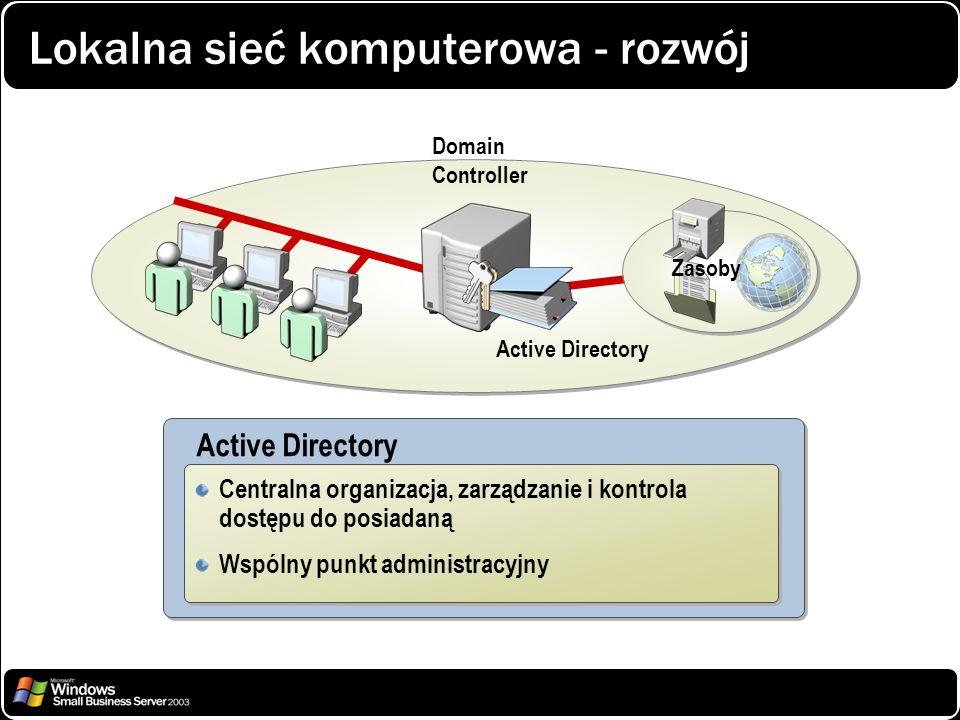 Lokalna sieć komputerowa - rozwój Active Directory Centralna organizacja, zarządzanie i kontrola dostępu do posiadaną Wspólny punkt administracyjny Ce