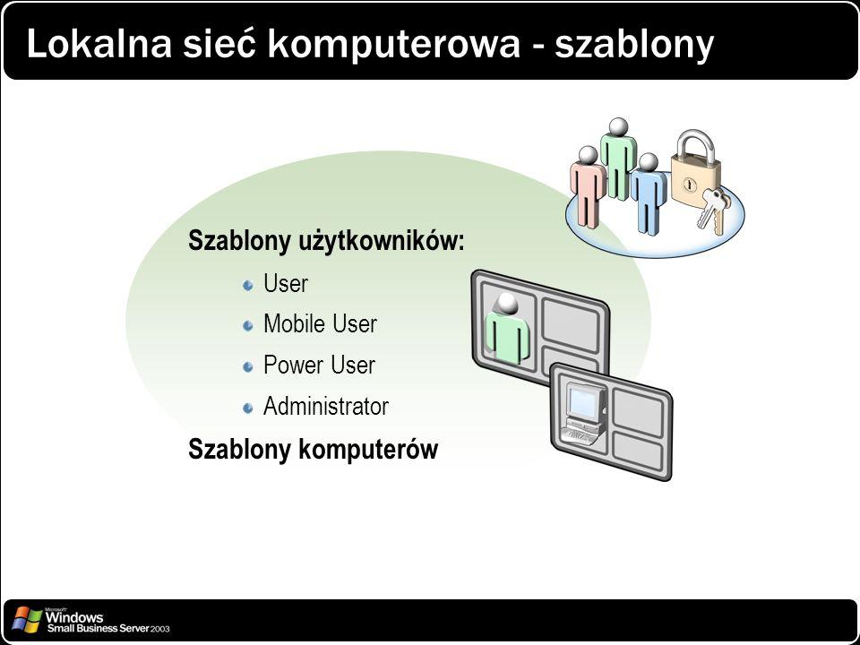 Lokalna sieć komputerowa - szablony Szablony użytkowników: User Mobile User Power User Administrator Szablony komputerów