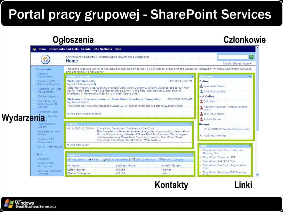OgłoszeniaCzłonkowie Wydarzenia Kontakty Linki Portal pracy grupowej - SharePoint Services