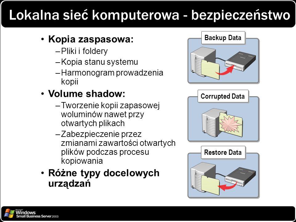 Lokalna sieć komputerowa - bezpieczeństwo Backup Data Kopia zaspasowa: –Pliki i foldery –Kopia stanu systemu –Harmonogram prowadzenia kopii Volume sha