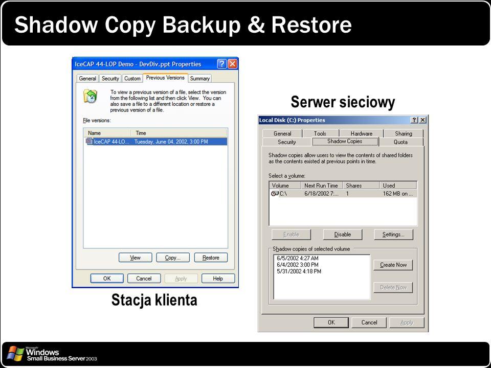 Shadow Copy Backup & Restore Stacja klienta Serwer sieciowy