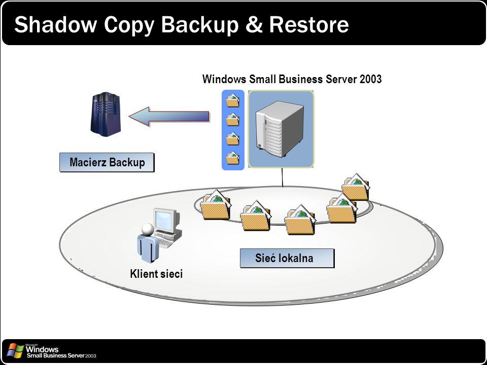 Shadow Copy Backup & Restore Windows Small Business Server 2003 Sieć lokalna Klient sieci Macierz Backup