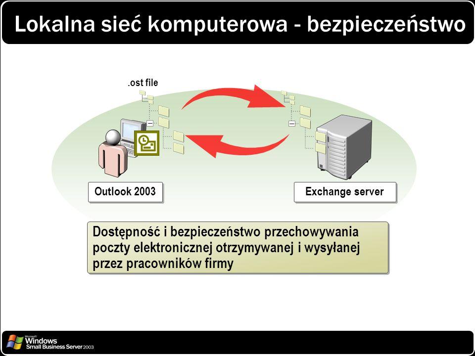 Lokalna sieć komputerowa - bezpieczeństwo Exchange server Outlook 2003 Dostępność i bezpieczeństwo przechowywania poczty elektronicznej otrzymywanej i