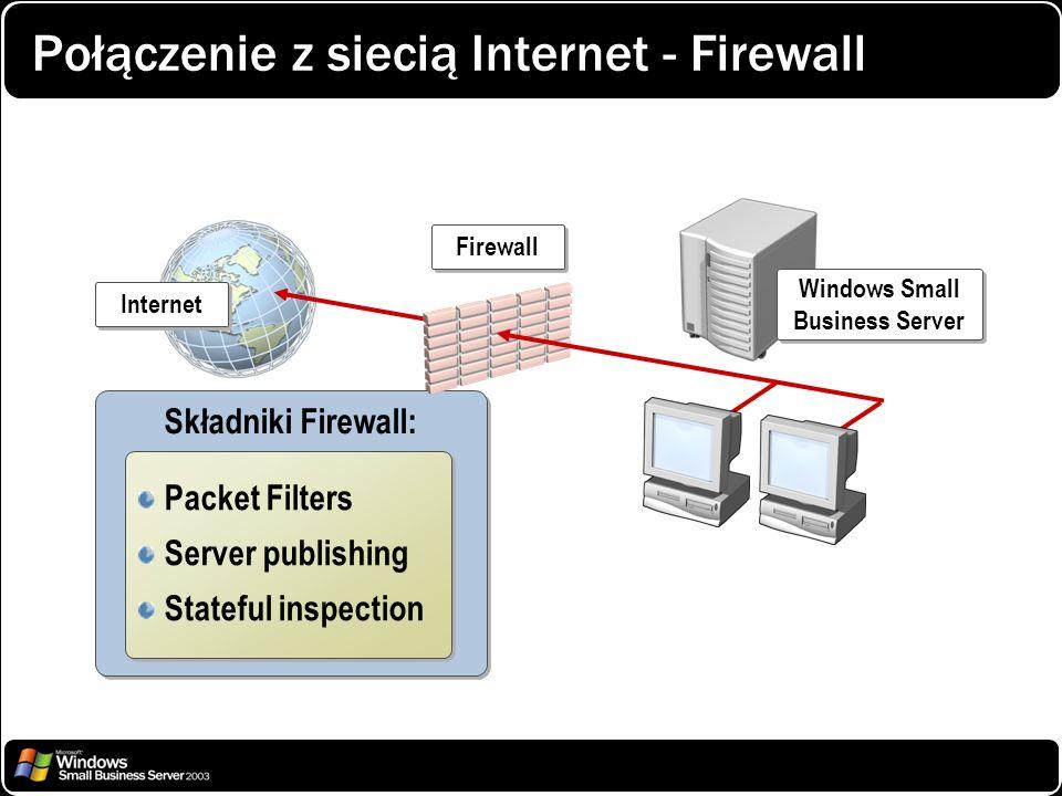Połączenie z siecią Internet - Firewall Składniki Firewall: Packet Filters Server publishing Stateful inspection Packet Filters Server publishing Stat