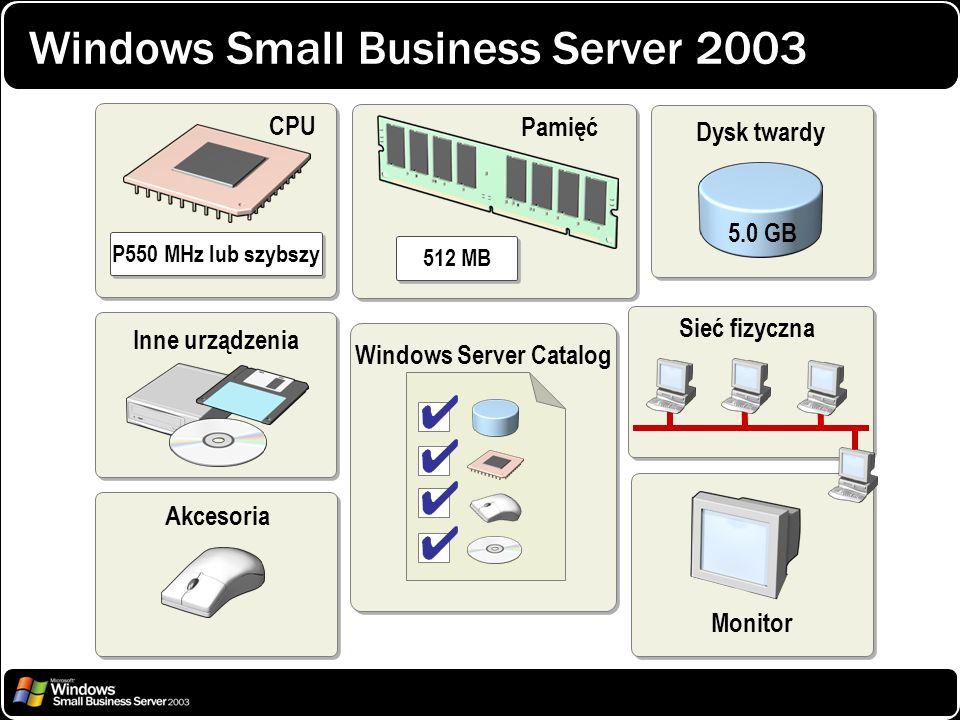 Windows Small Business Server 2003 Monitor P550 MHz lub szybszy CPU 512 MB Pamięć Inne urządzenia Akcesoria Windows Server Catalog Sieć fizyczna Dysk