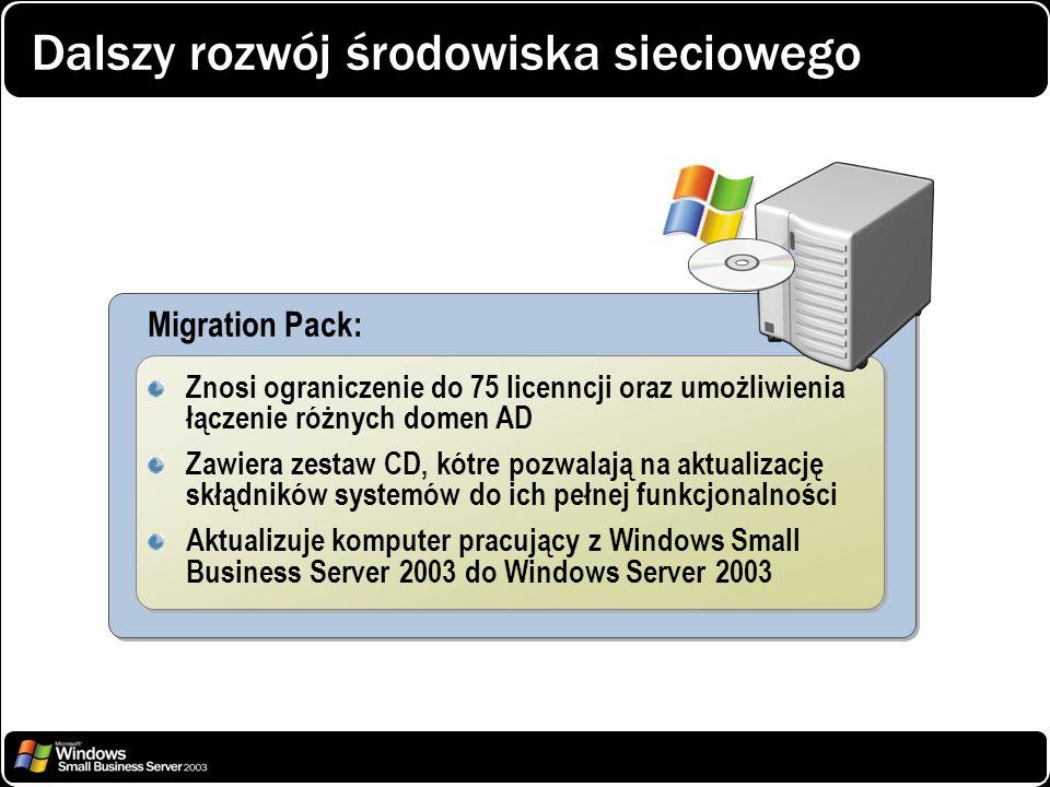 Dalszy rozwój środowiska sieciowego Migration Pack: Znosi ograniczenie do 75 licenncji oraz umożliwienia łączenie różnych domen AD Zawiera zestaw CD,