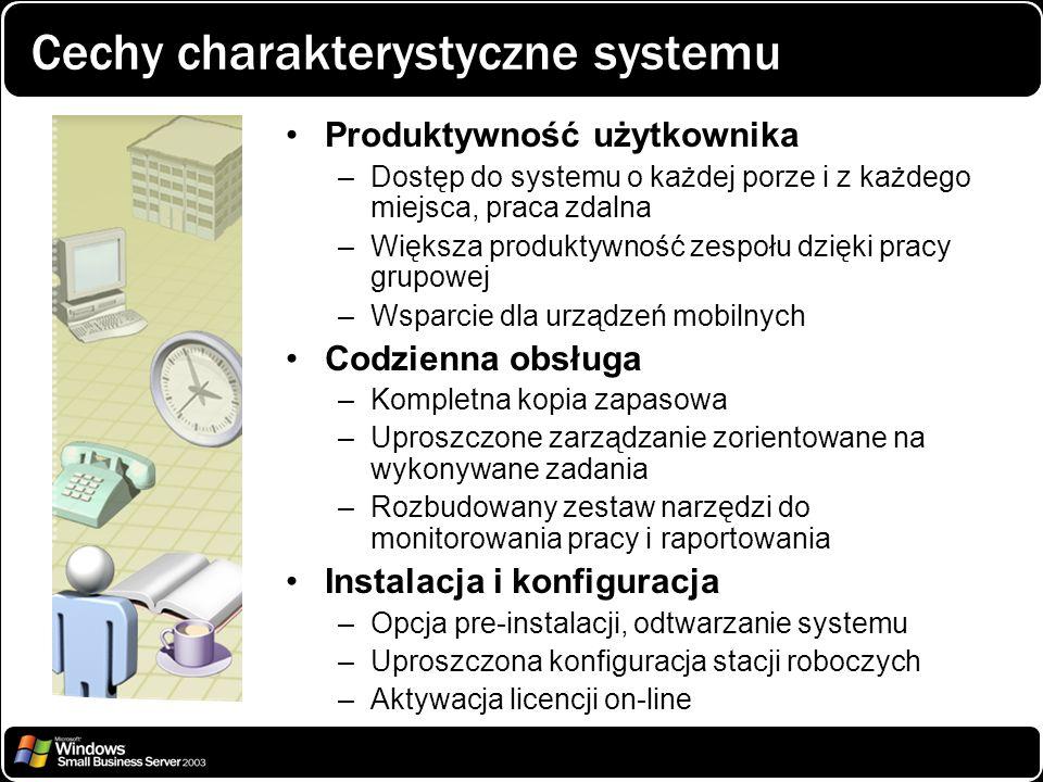 Cechy charakterystyczne systemu Produktywność użytkownika –Dostęp do systemu o każdej porze i z każdego miejsca, praca zdalna –Większa produktywność z