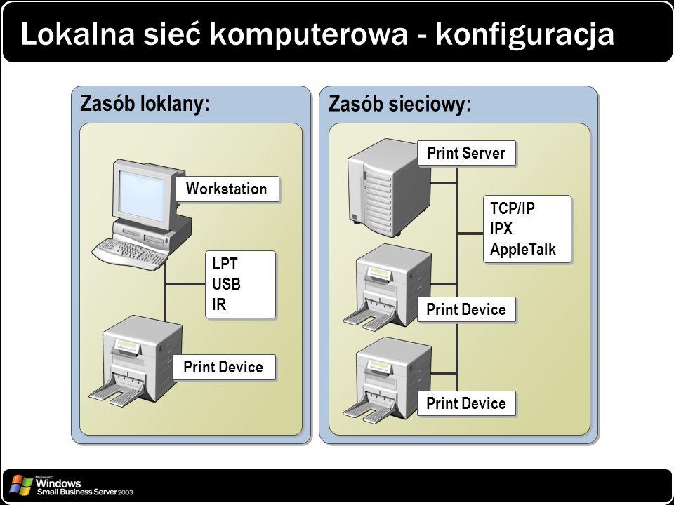 Lokalna sieć komputerowa - konfiguracja Zasób loklany: Print Device LPT USB IR LPT USB IR Zasób sieciowy: TCP/IP IPX AppleTalk TCP/IP IPX AppleTalk Pr