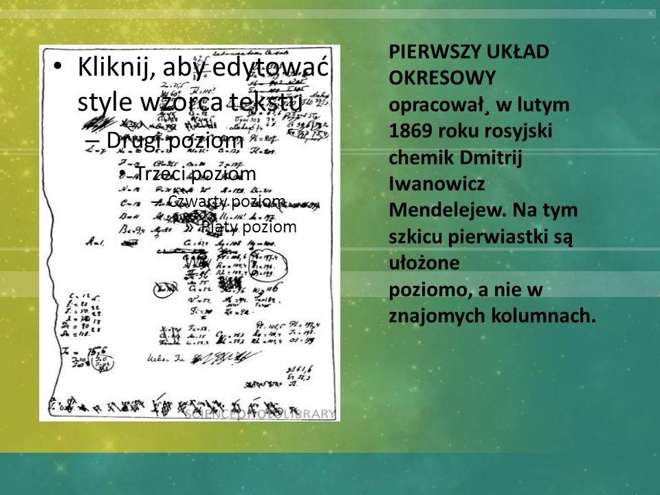 Kliknij, aby edytować style wzorca tekstu – Drugi poziom Trzeci poziom – Czwarty poziom » Piąty poziom PIERWSZY UKŁAD OKRESOWY opracował¸ w lutym 1869 roku rosyjski chemik Dmitrij Iwanowicz Mendelejew.