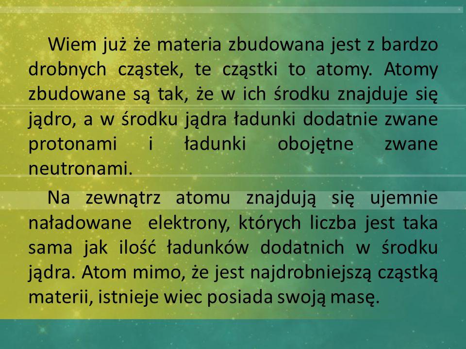 Wiem już że materia zbudowana jest z bardzo drobnych cząstek, te cząstki to atomy.