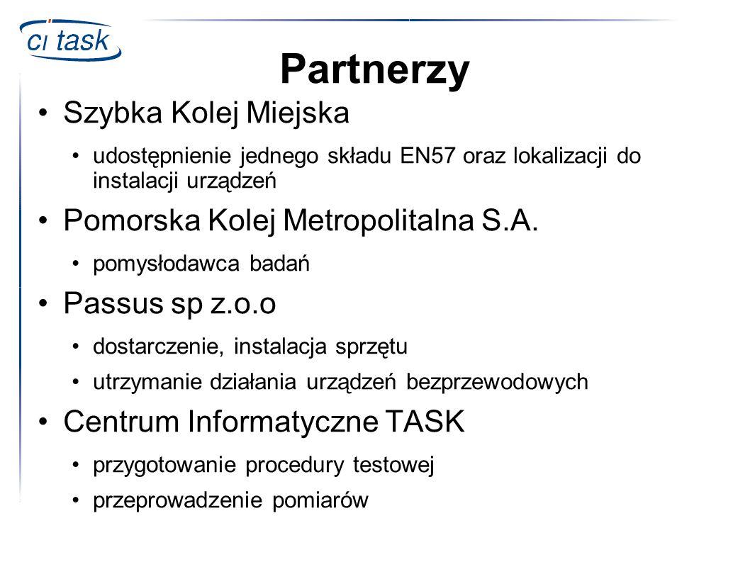 Partnerzy Szybka Kolej Miejska udostępnienie jednego składu EN57 oraz lokalizacji do instalacji urządzeń Pomorska Kolej Metropolitalna S.A. pomysłodaw