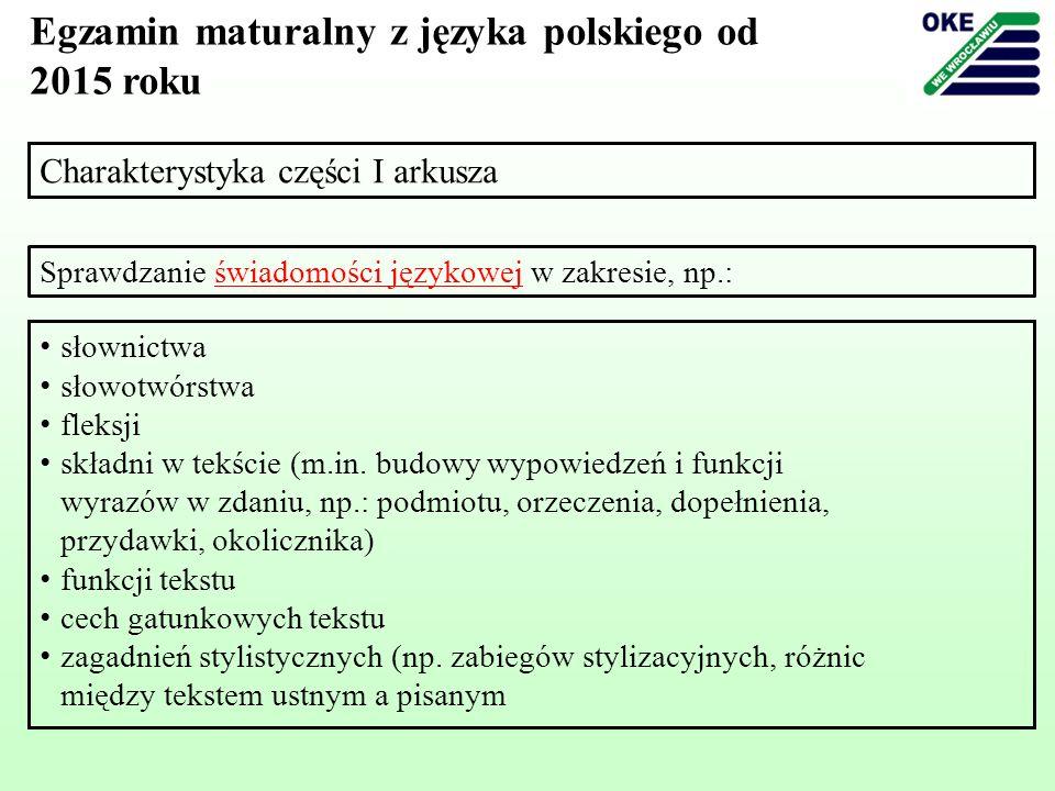Charakterystyka części I arkusza Egzamin maturalny z języka polskiego od 2015 roku Sprawdzanie świadomości językowej w zakresie, np.: słownictwa słowo