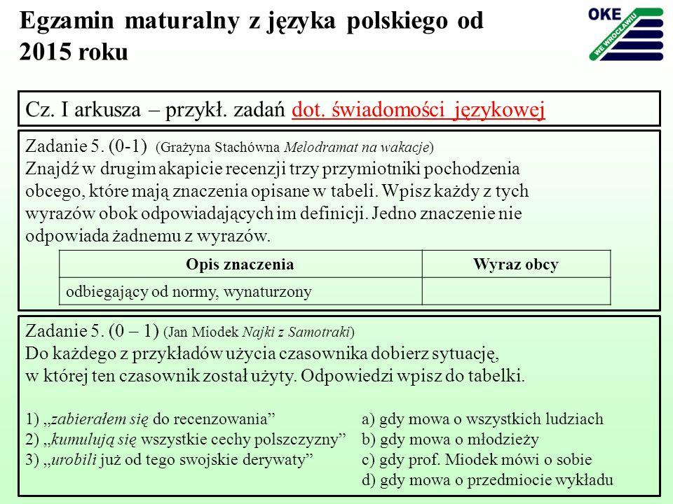 Cz. I arkusza – przykł. zadań dot. świadomości językowej Zadanie 5. (0-1) (Grażyna Stachówna Melodramat na wakacje) Znajdź w drugim akapicie recenzji