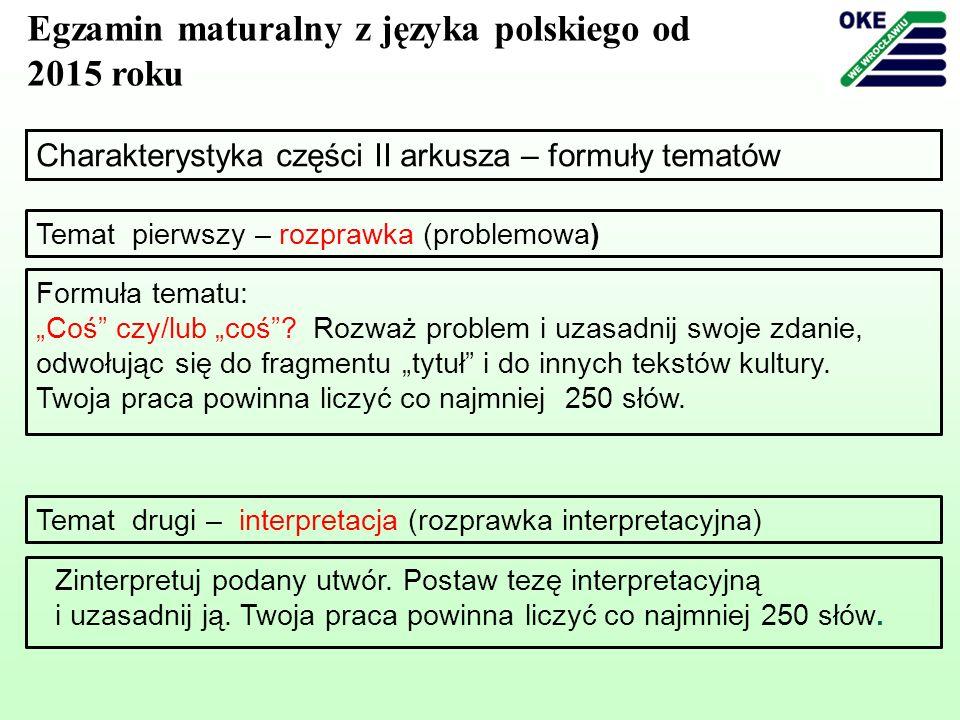 Charakterystyka części II arkusza – formuły tematów Egzamin maturalny z języka polskiego od 2015 roku Temat drugi – interpretacja (rozprawka interpret