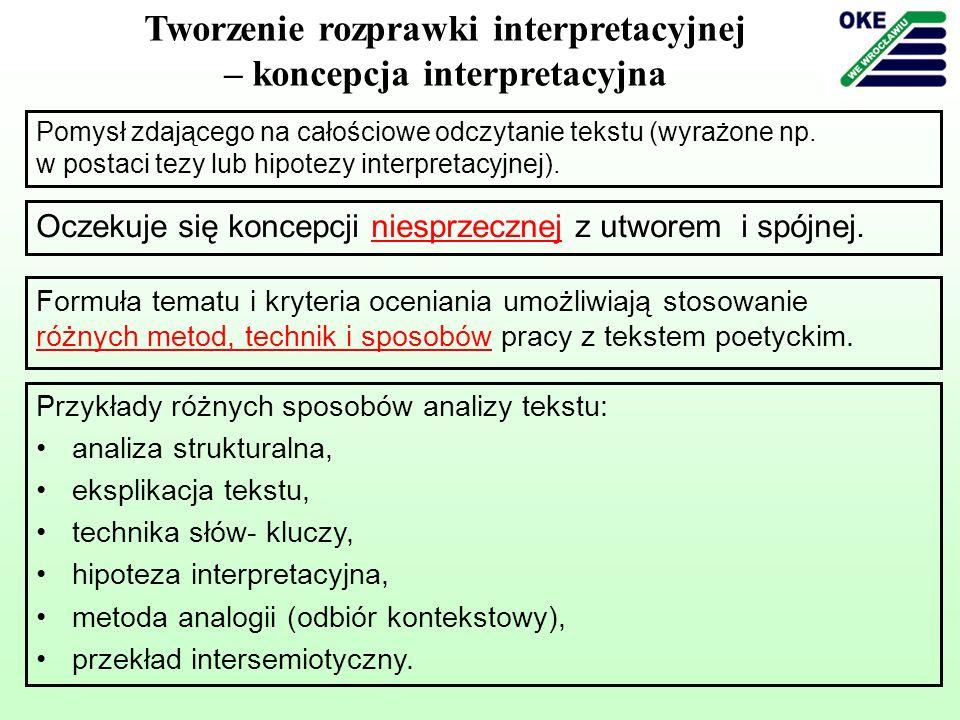 Tworzenie rozprawki interpretacyjnej – koncepcja interpretacyjna Pomysł zdającego na całościowe odczytanie tekstu (wyrażone np. w postaci tezy lub hip