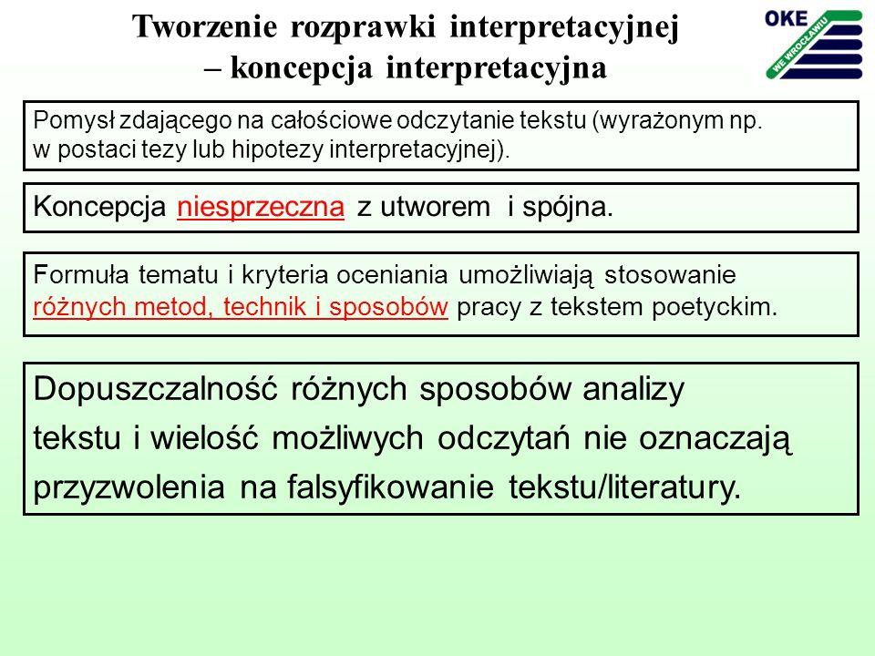 Tworzenie rozprawki interpretacyjnej – koncepcja interpretacyjna Pomysł zdającego na całościowe odczytanie tekstu (wyrażonym np. w postaci tezy lub hi