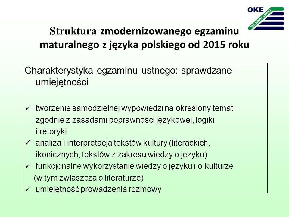 Struktura zmodernizowanego egzaminu maturalnego z języka polskiego od 2015 roku Wymagania wobec zdającego rozpoznaje wyrażoną w poleceniu intencję i przygotowuje wypowiedź zgodnie z tą intencją odczytuje (interpretuje) dołączony tekst kultury pod kątem wskazanego w poleceniu problemu odwołuje się do innych tekstów kultury (dowolnych) i problemów, które łączą się z tematem wypowiedzi opracowuje wypowiedź pod względem kompozycyjnym i językowo- stylistycznym wygłasza wypowiedź zgodnie z zasadami kultury żywego słowa bierze udział w rozmowie dotyczącej wypowiedzi monologowej