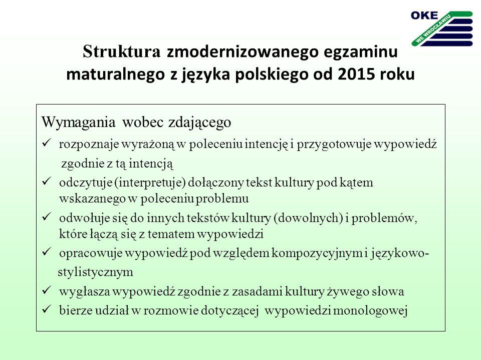 Struktura zmodernizowanego egzaminu maturalnego z języka polskiego od 2015 roku Wymagania wobec zdającego rozpoznaje wyrażoną w poleceniu intencję i p