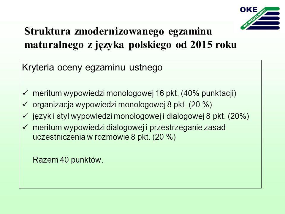 Struktura zmodernizowanego egzaminu maturalnego z języka polskiego od 2015 roku Przykłady zadań (numeracja zgodna z informatorem) Zadanie 1.