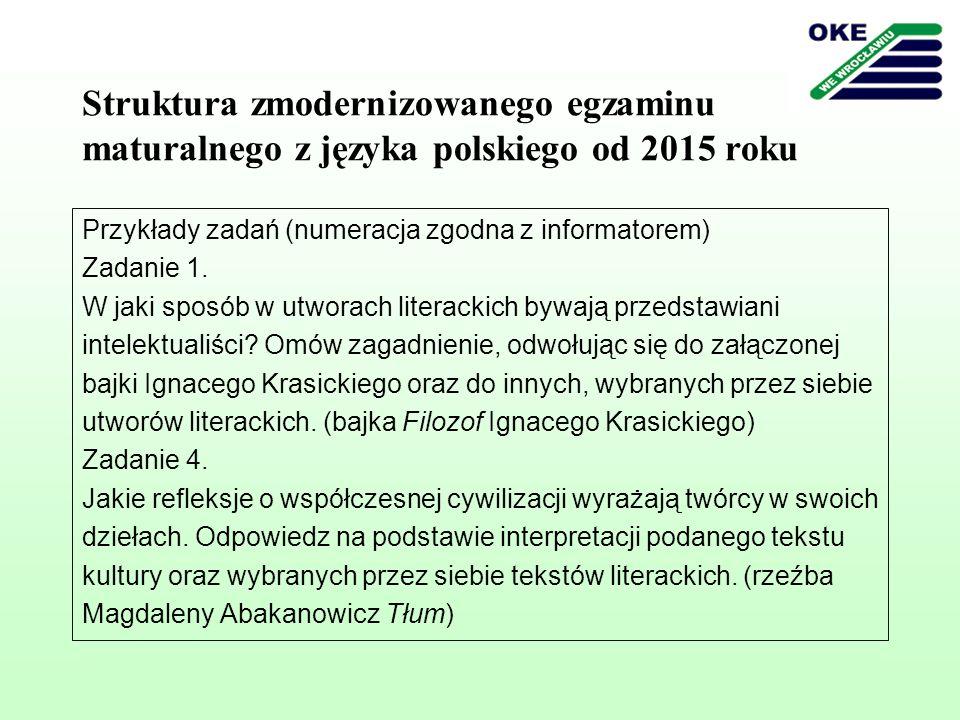 Struktura zmodernizowanego egzaminu maturalnego z języka polskiego od 2015 roku Przykłady zadań (numeracja zgodna z informatorem) Zadanie 1. W jaki sp