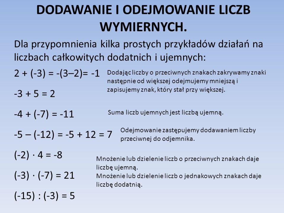 DODAWANIE I ODEJMOWANIE LICZB WYMIERNYCH. Dla przypomnienia kilka prostych przykładów działań na liczbach całkowitych dodatnich i ujemnych: 2 + (-3) =