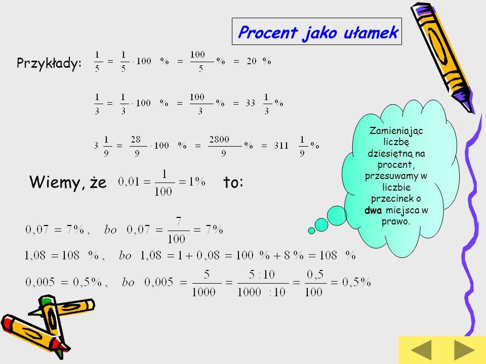 Przedstawienie procentów w postaci ułamków Aby zamienić procent na ułamek, przedstawiamy ten procent jako ułamek o mianowniku 100.
