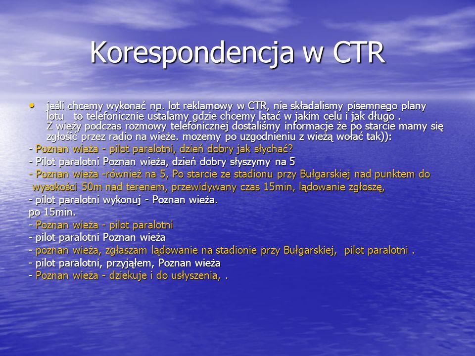 Korespondencja w CTR jeśli chcemy wykonać np.