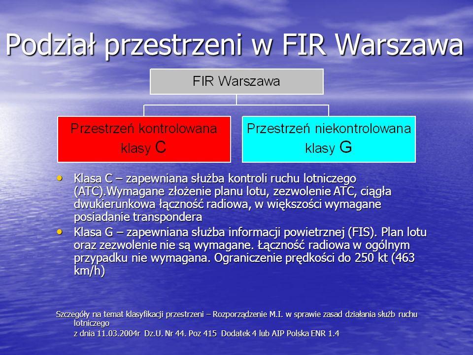 Podział przestrzeni w FIR Warszawa Klasa C – zapewniana służba kontroli ruchu lotniczego (ATC).Wymagane złożenie planu lotu, zezwolenie ATC, ciągła dwukierunkowa łączność radiowa, w większości wymagane posiadanie transpondera Klasa C – zapewniana służba kontroli ruchu lotniczego (ATC).Wymagane złożenie planu lotu, zezwolenie ATC, ciągła dwukierunkowa łączność radiowa, w większości wymagane posiadanie transpondera Klasa G – zapewniana służba informacji powietrznej (FIS).