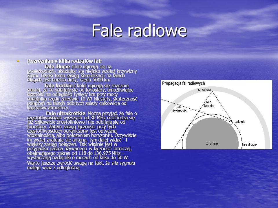 Fale radiowe Rozrózniamy kilka rodzajów fal: Rozrózniamy kilka rodzajów fal: Fale długie silnie uginają się na przeszkodach, układając się niejako wzdłuż krzywizny Ziemi.