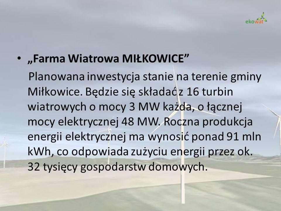 Farma Wiatrowa MIŁKOWICE Planowana inwestycja stanie na terenie gminy Miłkowice. Będzie się składać z 16 turbin wiatrowych o mocy 3 MW każda, o łączne