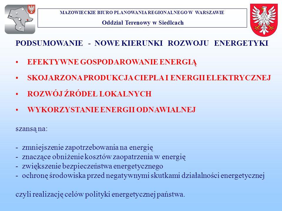 MAZOWIECKIE BIURO PLANOWANIA REGIONALNEGO W WARSZAWIE Oddział Terenowy w Siedlcach PODSUMOWANIE - NOWE KIERUNKI ROZWOJU ENERGETYKI EFEKTYWNE GOSPODARO