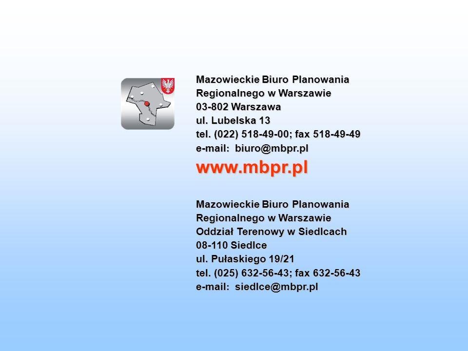 Mazowieckie Biuro Planowania Regionalnego w Warszawie 03-802 Warszawa ul. Lubelska 13 tel. (022) 518-49-00; fax 518-49-49 e-mail : biuro@mbpr.pl www.m