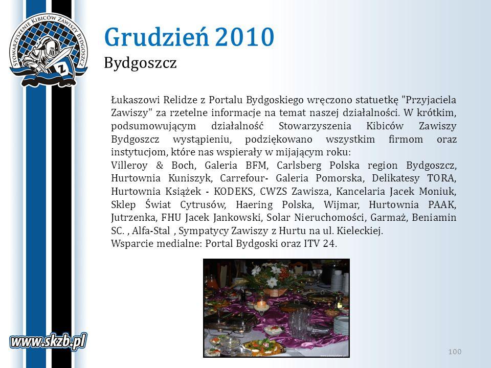 Grudzień 2010 Bydgoszcz 100 Łukaszowi Relidze z Portalu Bydgoskiego wręczono statuetkę