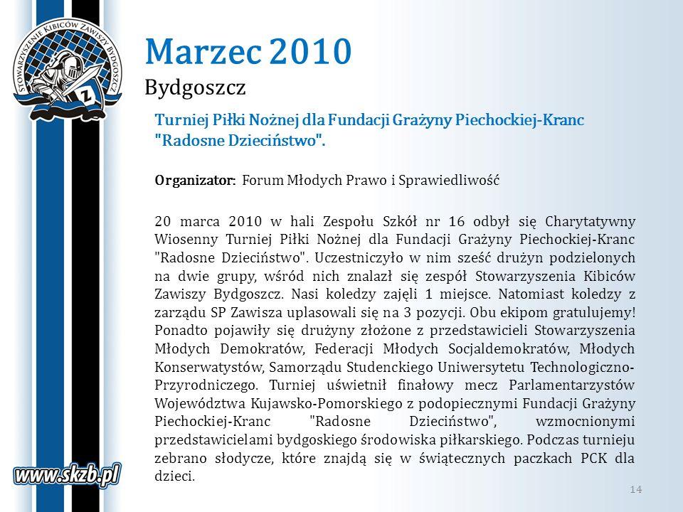 Marzec 2010 Bydgoszcz 14 Turniej Piłki Nożnej dla Fundacji Grażyny Piechockiej-Kranc