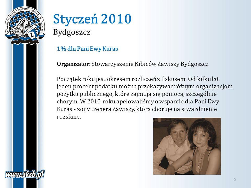 Styczeń 2010 Bydgoszcz 2 1% dla Pani Ewy Kuras Organizator: Stowarzyszenie Kibiców Zawiszy Bydgoszcz Początek roku jest okresem rozliczeń z fiskusem.