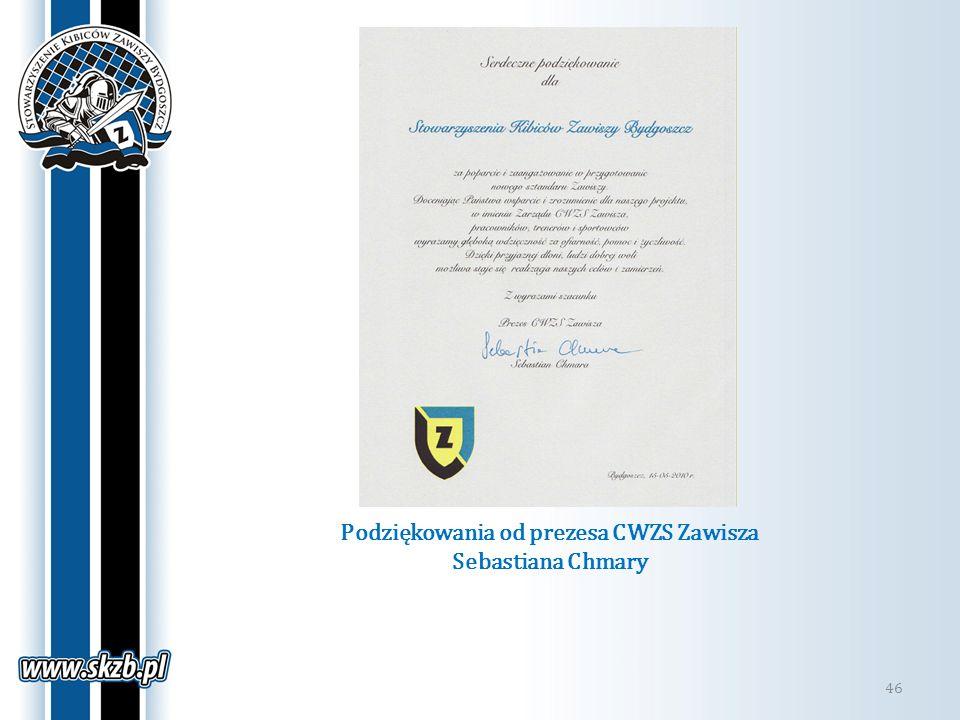 Podziękowania od prezesa CWZS Zawisza Sebastiana Chmary 46
